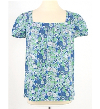 Whistles size 10 green white & blue floral patterned top
