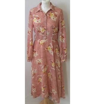 Vintage style M&S Limited Edition Size 6  Pink with Brown and Yellow Retro Vibes Shirt Dress