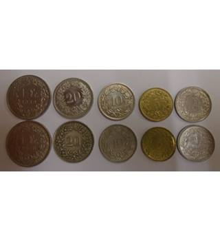A MIX SET OF 10 COINS FROM SWITZERLAND