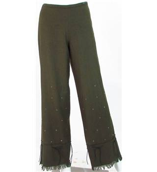 Ted Baker - Size: 12 - Green - Sequin Detail Fringed Trousers