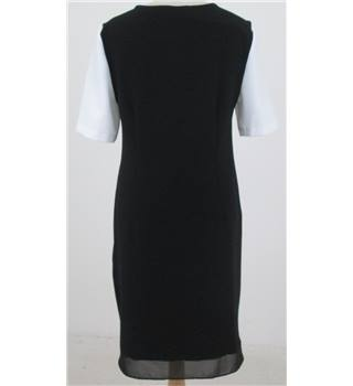 M&S Size: 10 Black knee length dress with white sleeves