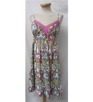 Oasis Size 10 Cream with Paisley, Colourful Floral Pattern and Sequins Dress