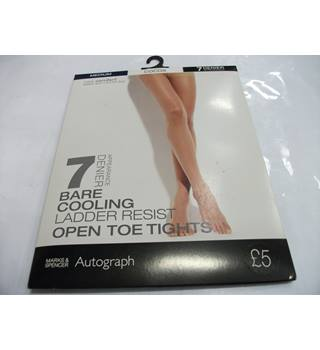 3 Boxes of Marks & Spencer 7 Denier Cocoa Open Toe Tights Size Medium