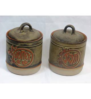 Two Tremar Pottery Stoneware Pots Honey and Jam