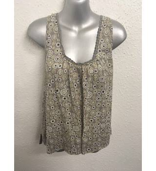 Gudrun Sjoden - Neutral geometric floral design sleeveless top - Size: XL
