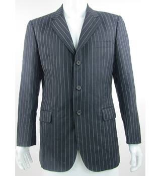 "Aquascutum - Size: 40"" - 100% Wool - Black/White - Single Breasted Pinstripe Suit Jacket"