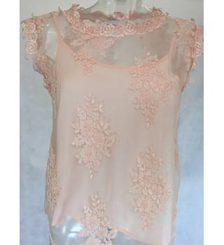 River Island Sheer Top with Camisole Size 8 River Isaland - Size: XS - Pink - Blouse