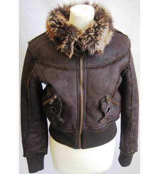 New Look brown faux sheepskin bomber jacket 10/EU38 NEW LOOK - Size: 10 - Brown - Casual jacket / coat