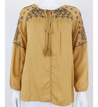 Per Una Size 10 Mustard Embroidered Tassel Blouse