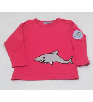 BNWT Monkey & Bob, age 6-12 months pink applique shark long sleeved T-shirt
