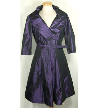 Hobbs Size 12 Deep Purple/Black Taffeta Wrap Front Dress