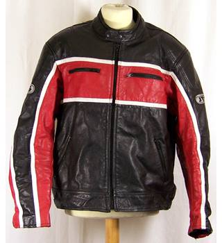 JTS size UK 46 Leather men's biker jacket in red white and black.