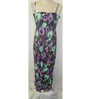 Ethel Austin Size 12  black,purple and green maxi dress