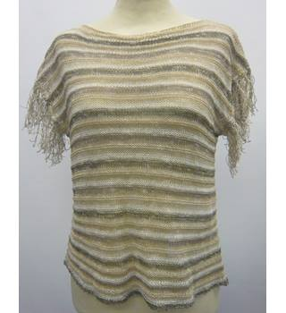 Top, sparkling browns and white short sleeved, small, designer iBlue - Size: S - Brown - Smock top