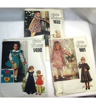 3 Little Vogue Children's Dress Patterns - 1490, 1632, 1801