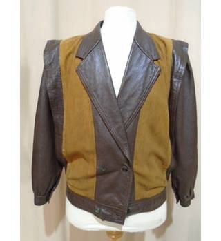 Vintage 80's Leather Jacket - Size M - Brown