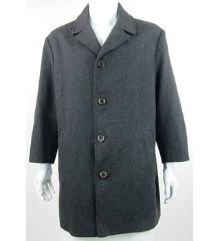 Cecil Gee - Size XL - Black - Wool Mix Single Breasted Coat