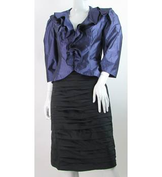 BNWT Watters & Watters - Size: 8 - Black and Purple - Ruffled and Ruched Skirt suit
