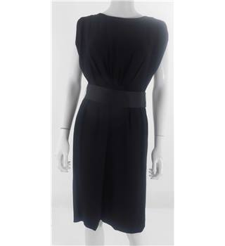 Whistles Size 10 Black Satin Belt Dress