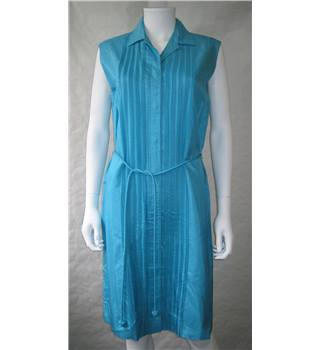 Vintage Pure Silk Size 18 Turquoise Dress