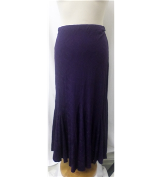 Per Una - Size 8S - Deep purple with floral embroidery - Smart calf length flared skirt