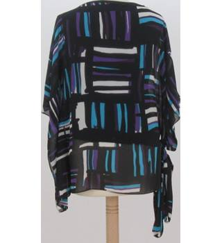 Country Casuals - Size: S - Black with purple and blue geometric pattern batwing top