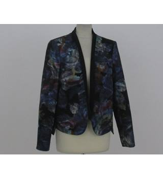 Per Una - Size: 16 - Black with purple, green and brown pattern jacket