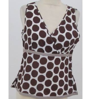 Boden - Size: 12 - White and brown spotted sleeveless top