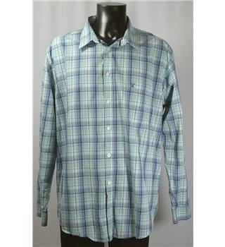 James Pringle Size XXL Blue and Green Long Sleeved Chequered Shirt