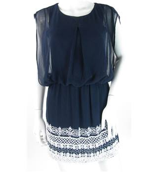 TFNC London - Size 8 - Navy Blue Dress with White Beaded Skirt