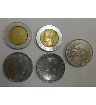 MIX SET OF 5 COINS FROM ITALY.