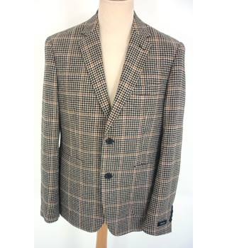 "Feraud  Size: L, 42"" chest, tailored fit Brown, Cream & Orange Hounds Tooth Stylish Wool Blend Single Breasted Designer Blazer"