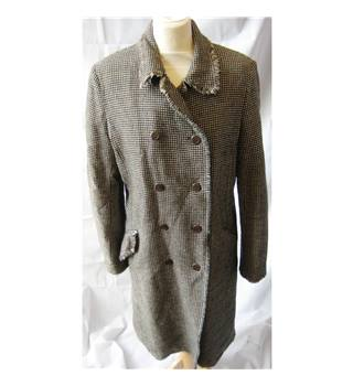 Jigsaw Size: 12 Brown/Beige Check wool coat