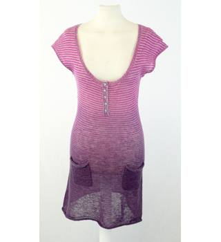 White Stuff Size 8 Pink Purple & Grey Striped Mohair Blend Sweater Dress