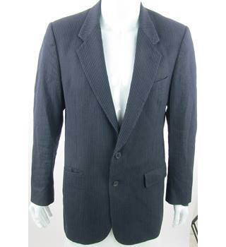 "Christian Dior Monsieur - Size: M 40"" - Navy Blue/White - Single Breasted Pinstripe Suit Jacket"