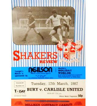 Bury v Carlisle United - Division 3 - 17th March 1987