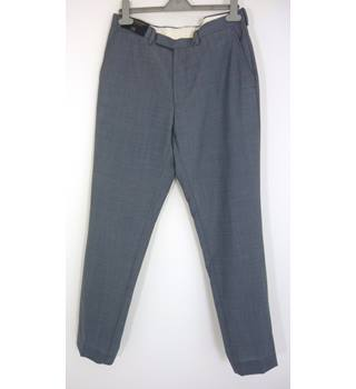 "M & S Size:  32"" W,  31"" L  Light Blue Smart/Stylish Wool Straight Leg Flat Front ""Savile Row Inspired"" Trousers"