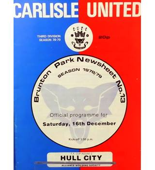 Carlisle United v Hull City - FA Cup 2nd Round - 16th December 1978