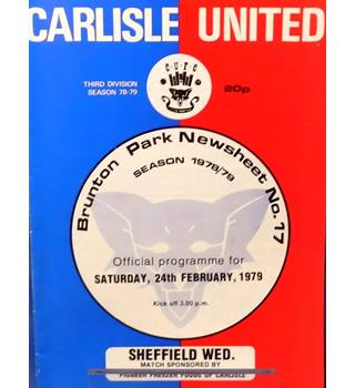 Carlisle United v Sheffield Wednesday - Division 3 - 24th February 1979