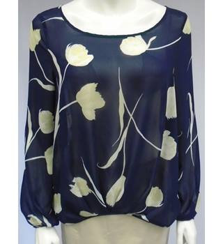 Next - Size 10 - Navy/White - Patterned - Chiffon-Type Top