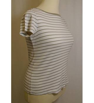 M&S Marks & Spencer - Size: 14 - White and Mink - Stripe - T-Shirt