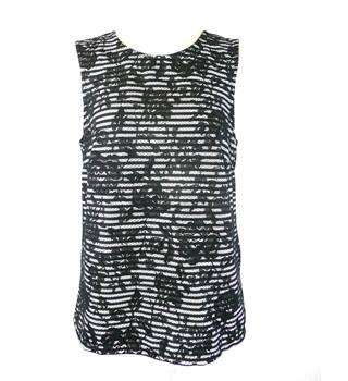 Warehouse - Size: 12 - Black - Sleeveless Lace Top