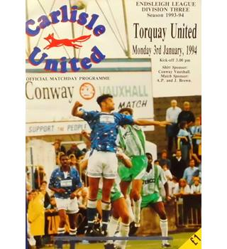 Carlisle United v Torquay United - Division 3 - 3rd January 1994