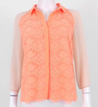 Ted Baker Size 1 (UK 8) Coral Pink Blouse With Lace Detailing