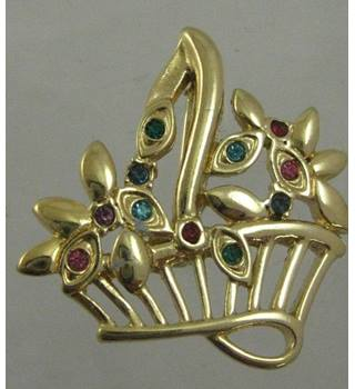 Gilt Brooch  faux gem stones
