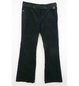 John Rocha  size 14S   black cord trousers - plaited belt - flared cut