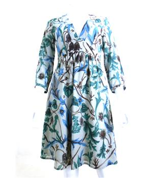 Jigsaw size:8 mid grey with dark green, blue and brown floral dress