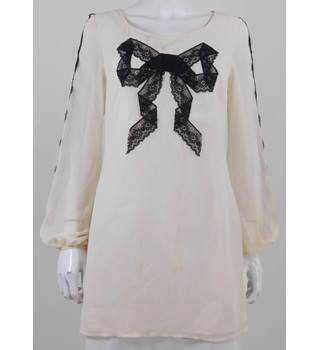 Lipsy Size 12 Cream Long Sleeved Tunic Top