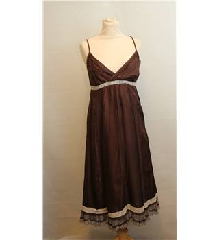 Whistles - Size: 10 - Brown with Cream Lace - Knee length dress