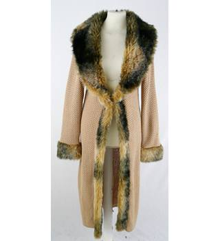 Morgan Tricot   approx 8  acrylic chunky knit maxi cardigan / coat with fur collar